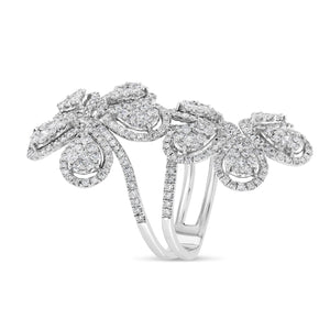 Double Flower Ring (White Gold)