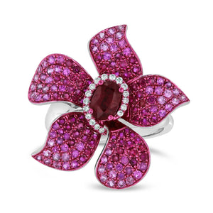 Pink Sapphire Flower Ring