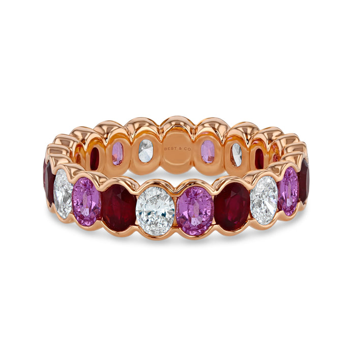 Ruby, Pink Sapphire and Diamond Oval Eternity Band