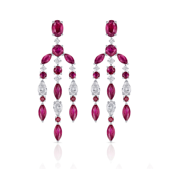 Ruby and Diamond Chandelier Earrings - Best & Co.