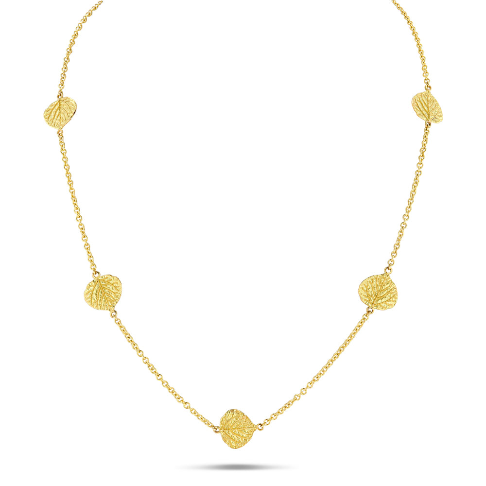 Aspen Leaf Station Necklace (18 inches)