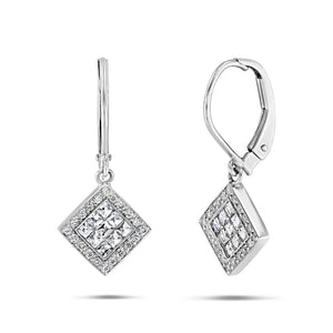 Square Diamond Drop Earrings