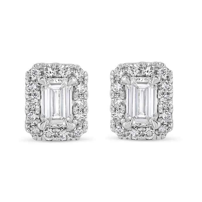 Emerald Cut Halo Studs