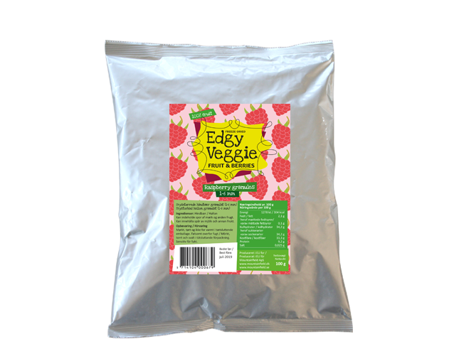Edgy Veggie Freezedried Raspberry Granules (1-6 mm) (100 g)