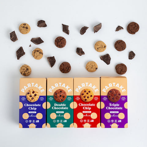 Partake chocolate lovers cookies featuring Chocolate Chip, Soft Baked Chocolate Chip, Triple Chocolate, and Double Chocolate
