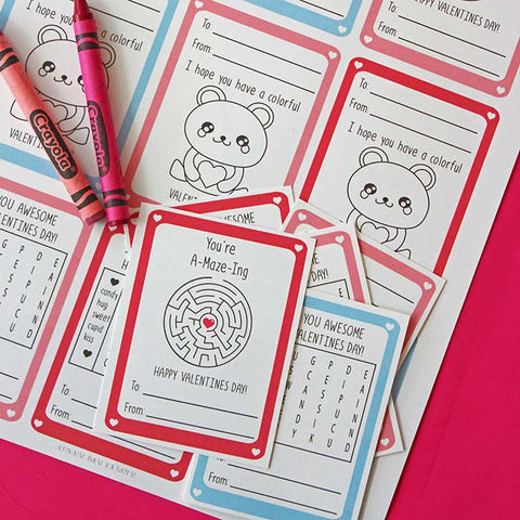 Free Printable Valentine's Day Cards with Games and Coloring