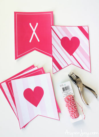 Make your own free printable valentine's day banner