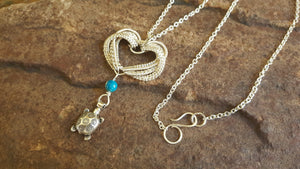 Sea turtle silver woven necklace