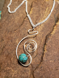 Large Turquoise and silver drop pendant necklace