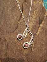 Charming music note in silver and jasper