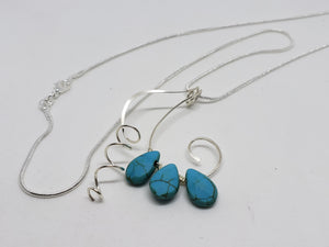 Turquoise drop bead necklace