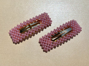 Daphne Pink Pearl Snap Clip Set Of Two