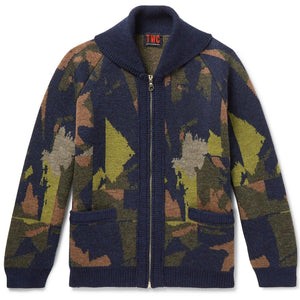 TWC Abstract Camo Zip Through Cardigan