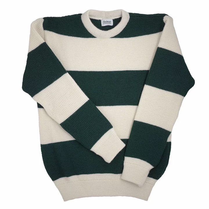 Hiemat Rugby Crew Neck Sweater (Seashell/Green)