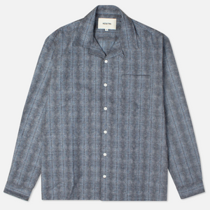 Kestin 'Tain' Open Collar Shirt (Blue Melange)