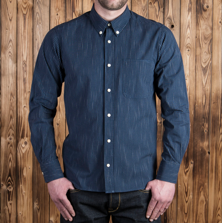 Pike Brothers 1957 Button-Down Shirt (Blue Stripe)