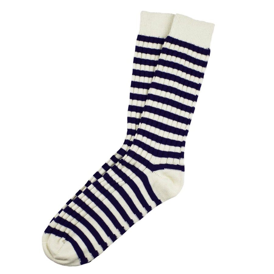 TWC Stripe Sock (Cream/Navy)