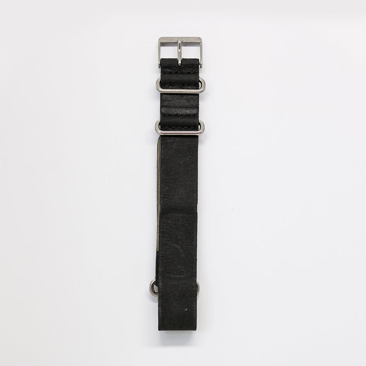 Pioneer Watch Strap C - Stone washed Black Leather