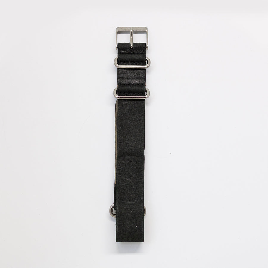 Navi Watch Strap G - Stone Washed Black Leather