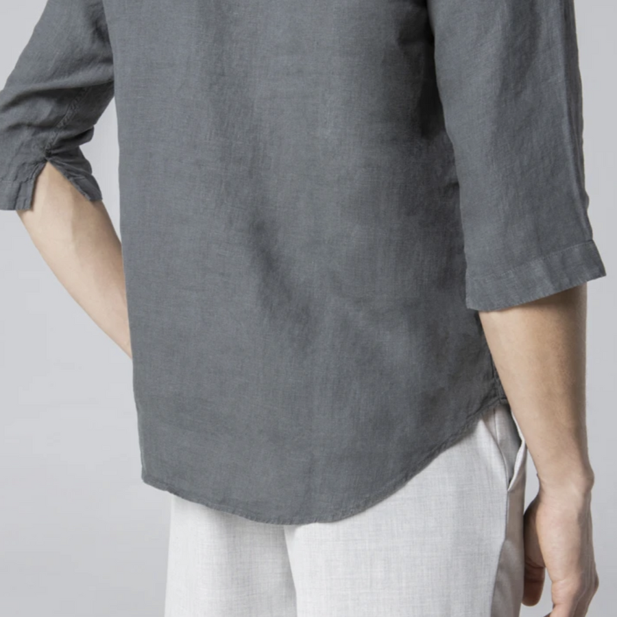 Unfeigned Linen Polera Shirt (Dark Shadow)
