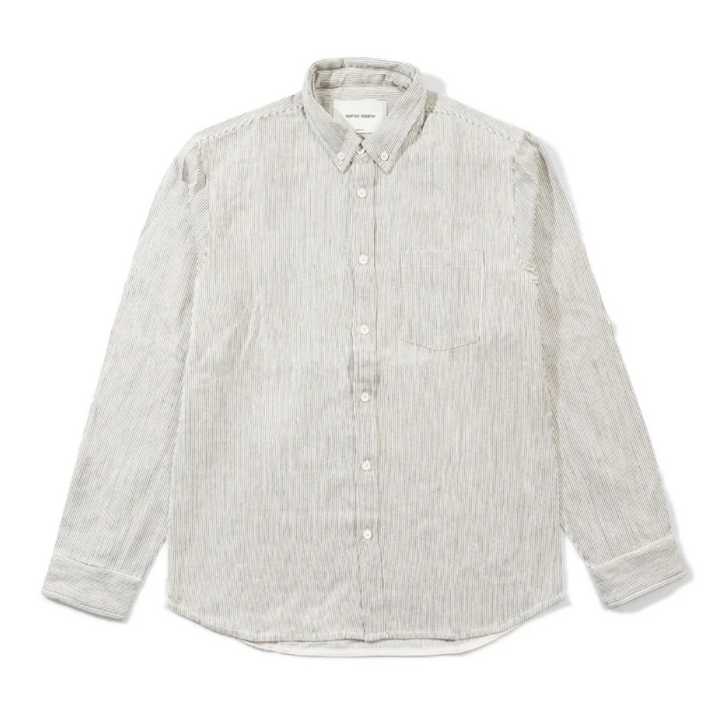 Native North Striped Herringbone Shirt (Beige)