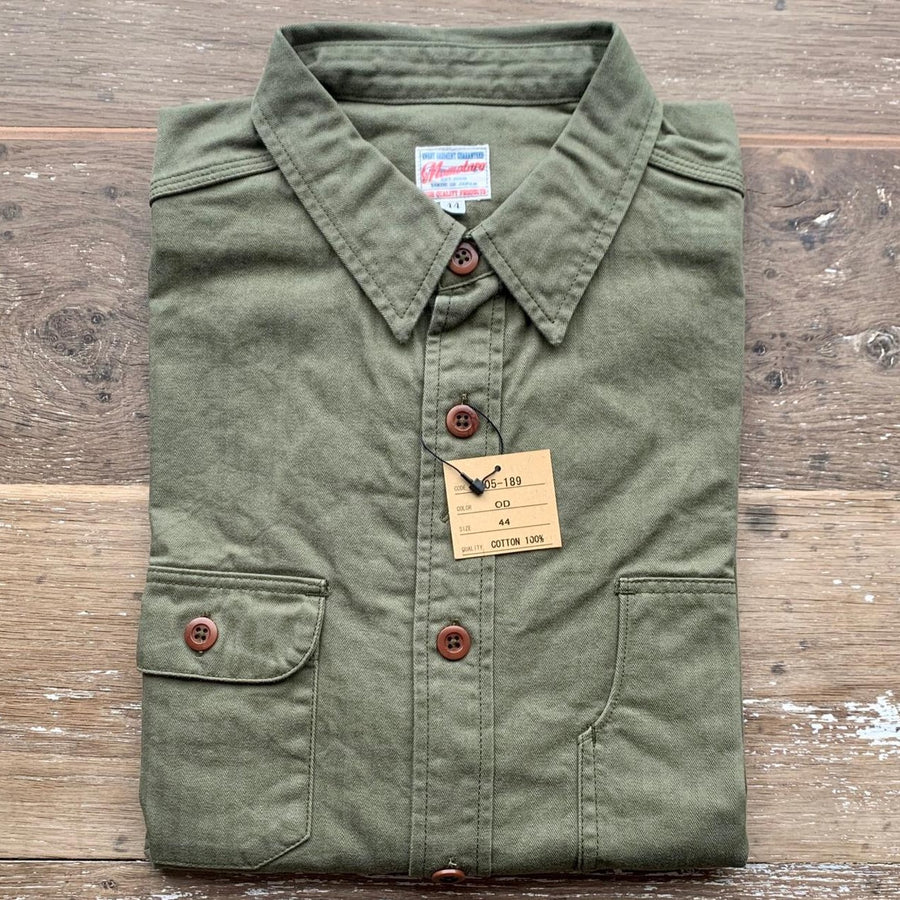 Momotaro Army Herringbone Work Shirt