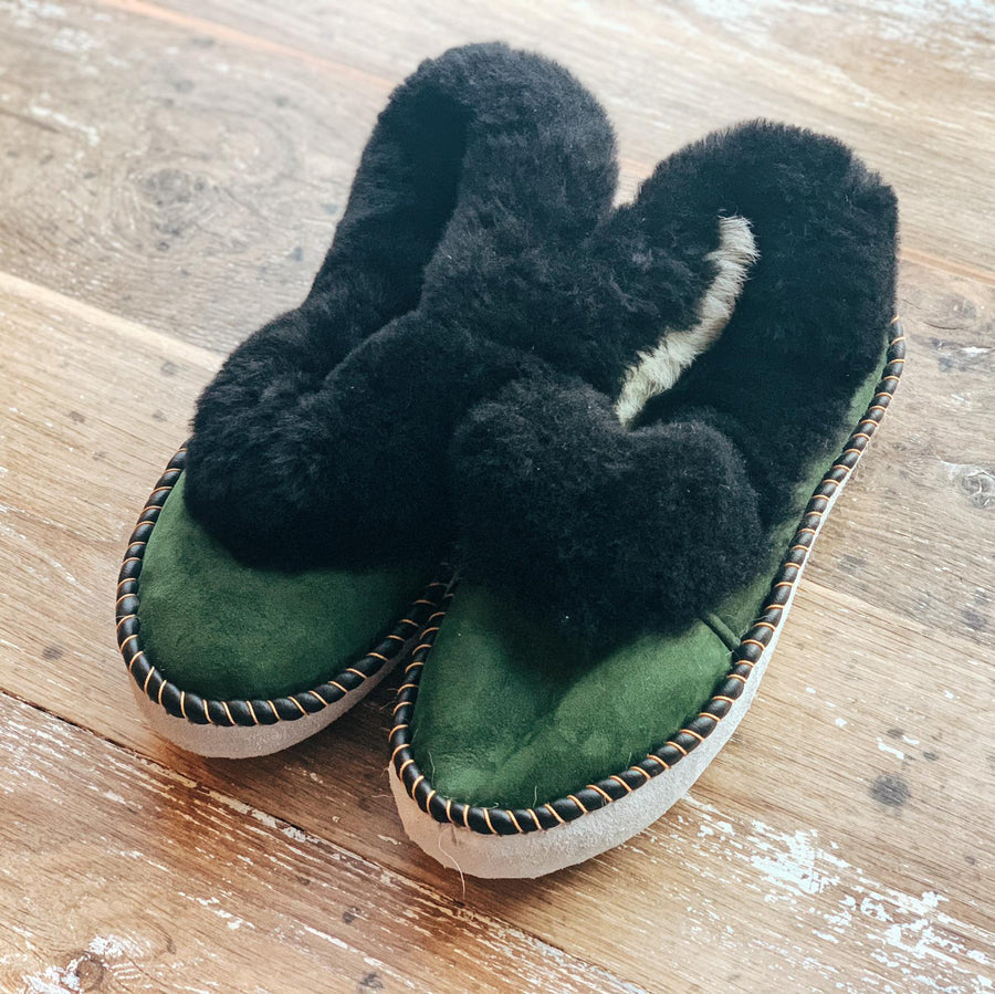 Shearling Slippers (Green Suede)
