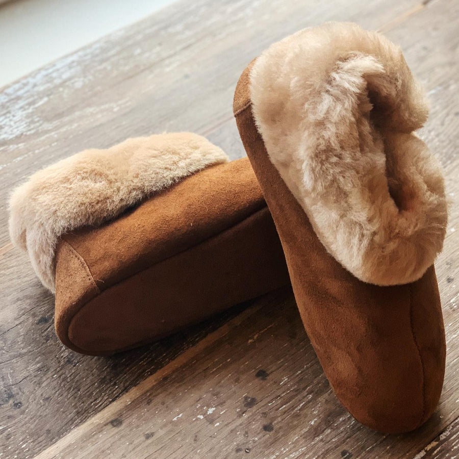 Shearling Boot Slippers (Brown)