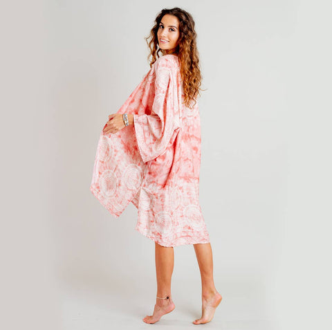 Beach / Pool Cover Up Kimono - Coral