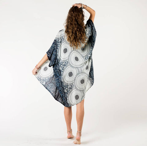 Beach / Pool Cover Up Kimono - Midnight Mandala