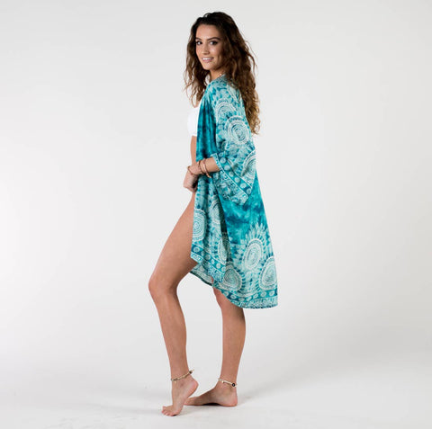 Beach / Pool Cover Up Kimono - Turquoise