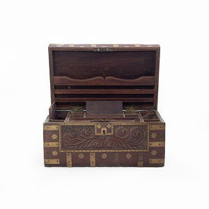 CHEST WITH BRASS EMBELLISHMENTS