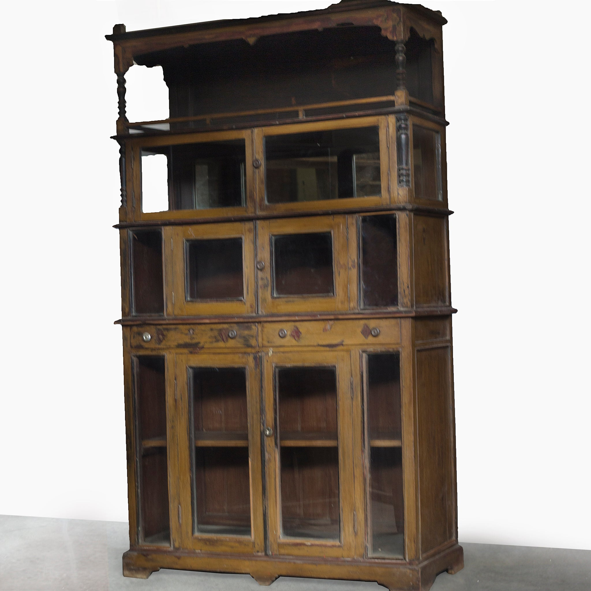 WOODEN AND GLASS CABINET