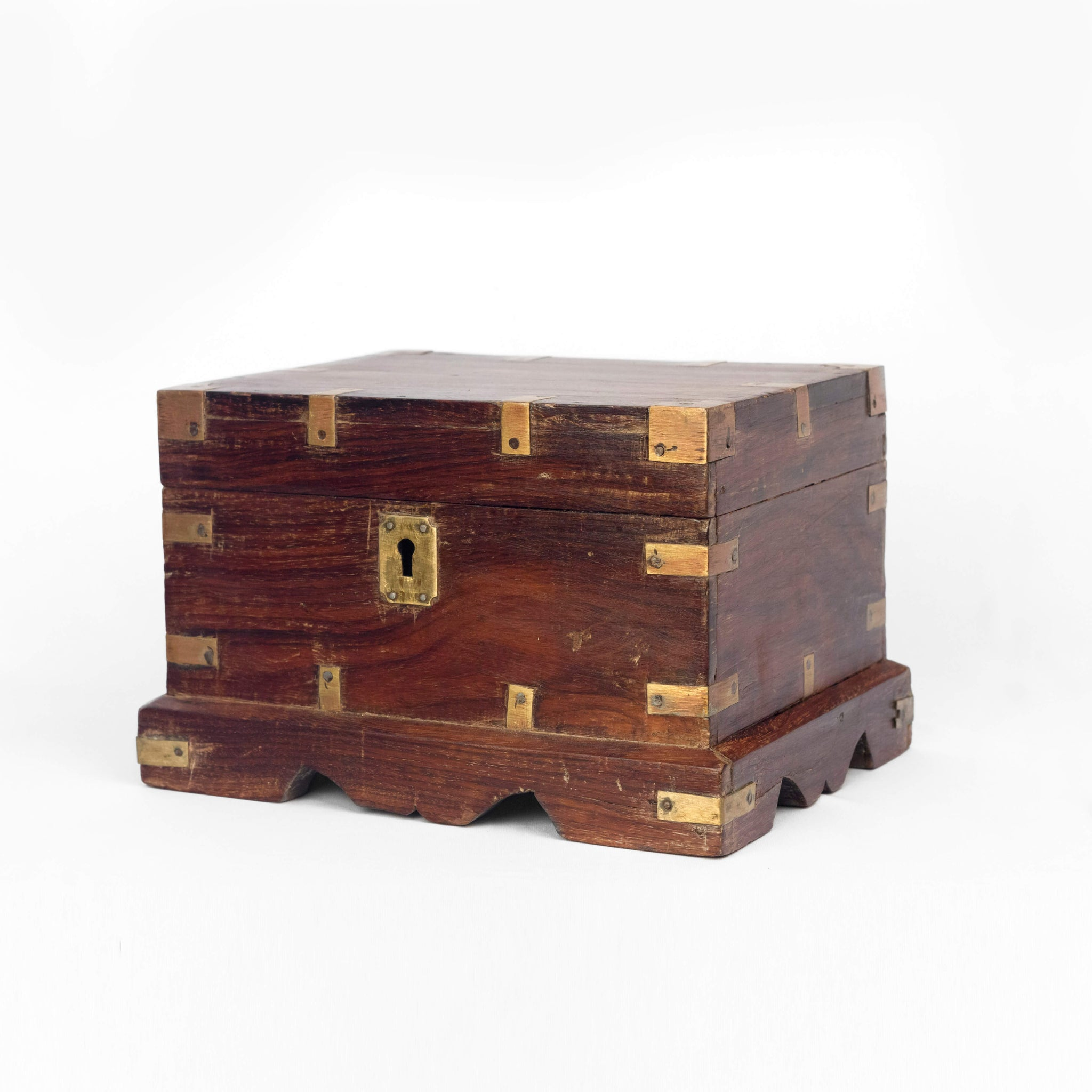 WOODEN CASH BOX WITH BRASS FITTINGS
