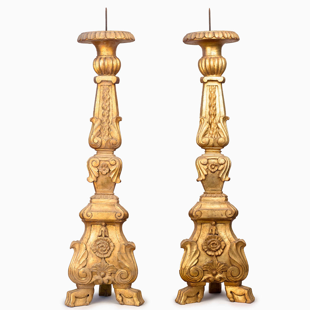 ANTIQUE GILDED CANDLE STANDS