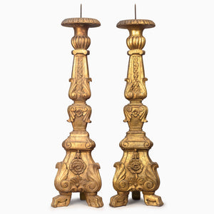 PAIR OF VINTAGE GOLDEN CANDLE STANDS