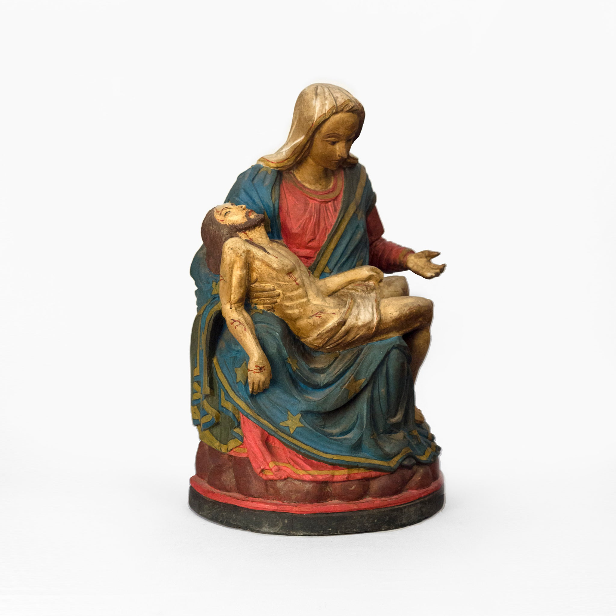 WOODEN IDOL OF MOTHER MARY WITH JESUS