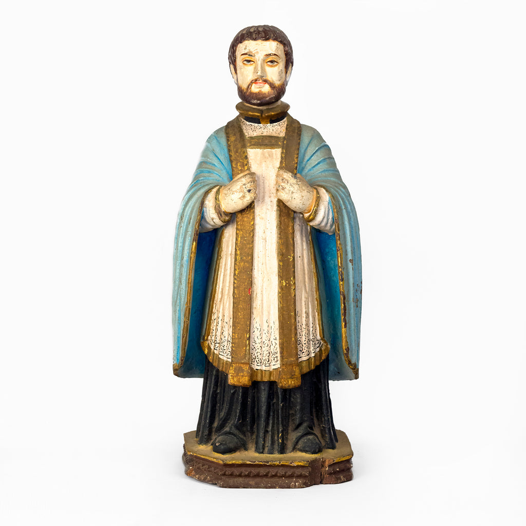 POLYCHROME WOODEN IDOL OF ST. FRANCIS
