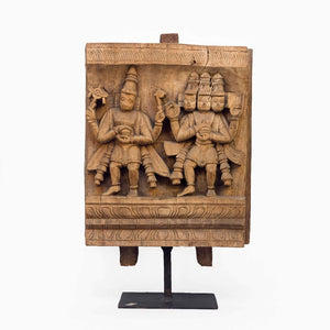 WOODEN CARVING OF LORD VISHNU AND LORD BRAHMA