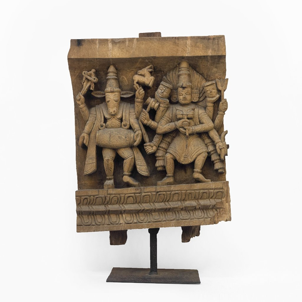 NANDIKESHWARA AND GODDESS KALI WOODEN CARVING