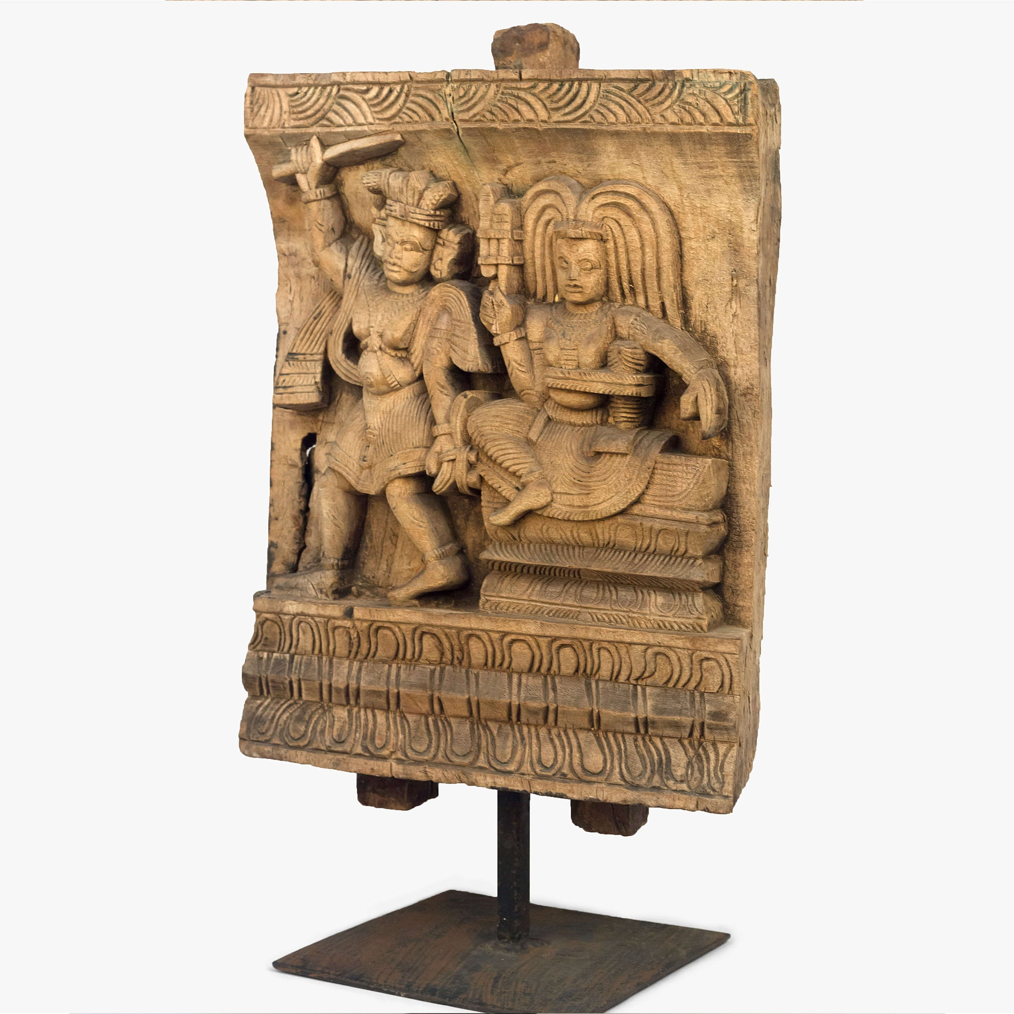 FINE WOODEN CARVING OF AIYANAR