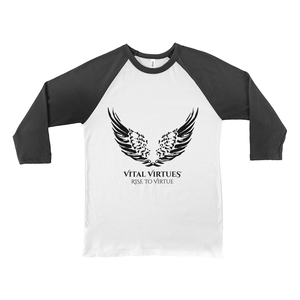ital Virtues - 3200 Bella+Canvas Unisex 3/4 Sleeve Baseball Tee White / Black