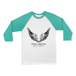 ital Virtues - 3200 Bella+Canvas Unisex 3/4 Sleeve Baseball Tee White / Kelly