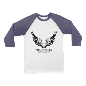 ital Virtues - 3200 Bella+Canvas Unisex 3/4 Sleeve Baseball Tee White / Navy