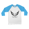 ital Virtues - 3200 Bella+Canvas Unisex 3/4 Sleeve Baseball Tee White / Neon Blue