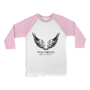 ital Virtues - 3200 Bella+Canvas Unisex 3/4 Sleeve Baseball Tee White / Neon Pink