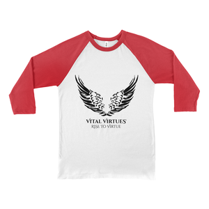 ital Virtues - 3200 Bella+Canvas Unisex 3/4 Sleeve Baseball Tee White / Red