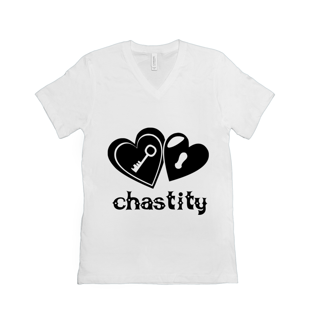 Lock & Key Chastity - Bella+Canvas 3005 Unisex Jersey Short Sleeve V-Neck Tee White