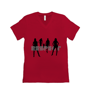 Respect Women - Bella+Canvas 3005 Unisex Jersey Short Sleeve V-Neck Tee Red