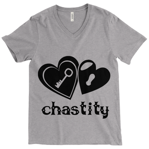 Lock & Key Chastity - Bella+Canvas 3415 Unisex Tri-Blend Short Sleeve V-Neck Tee Grey